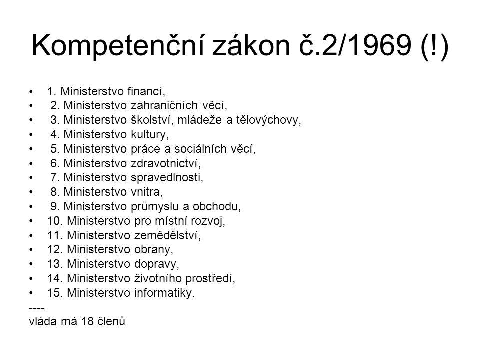 Kompetenční zákon č.2/1969 (!) 1. Ministerstvo financí, 2. Ministerstvo zahraničních věcí, 3. Ministerstvo školství, mládeže a tělovýchovy, 4. Ministe