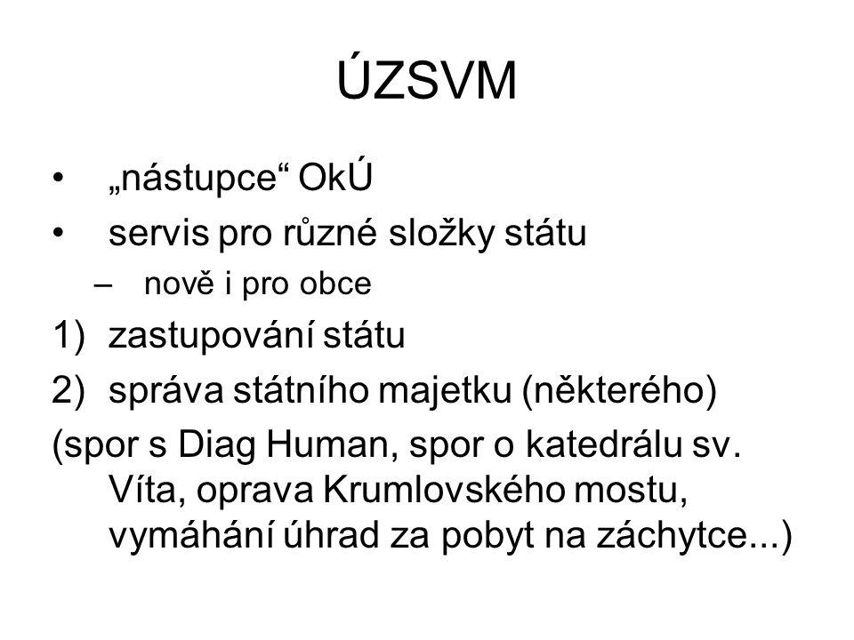 """ÚZSVM """"nástupce"""" OkÚ servis pro různé složky státu –nově i pro obce 1)zastupování státu 2)správa státního majetku (některého) (spor s Diag Human, spor"""