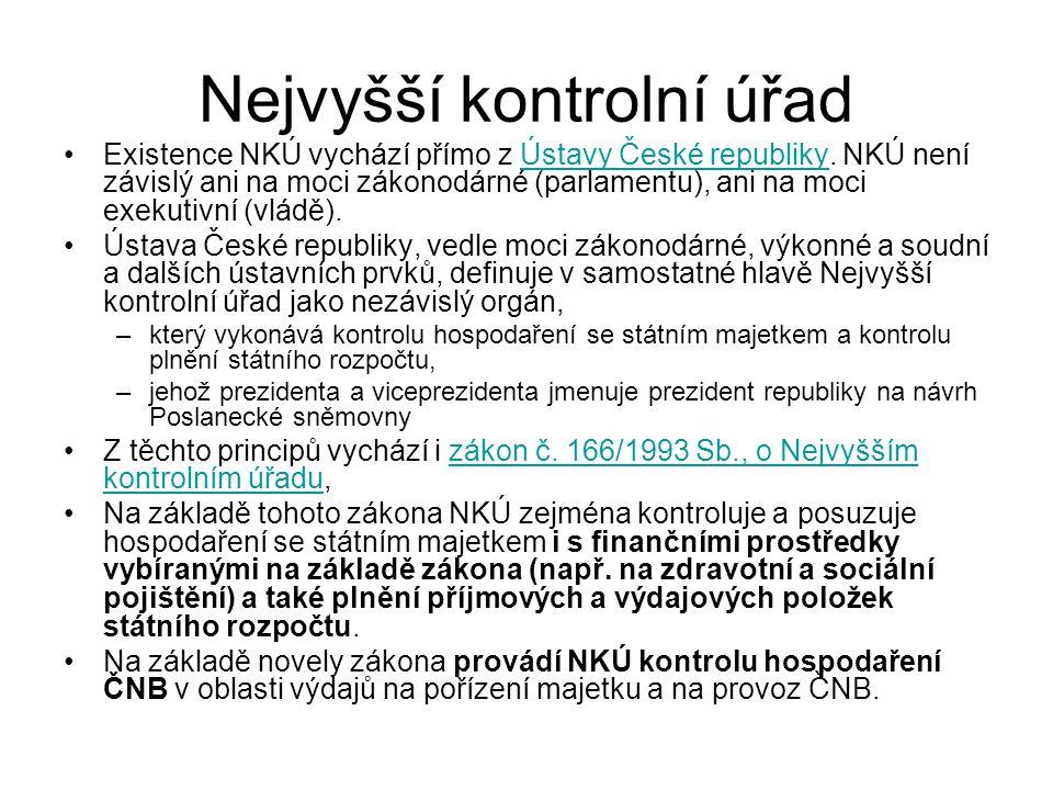 Nejvyšší kontrolní úřad Existence NKÚ vychází přímo z Ústavy České republiky. NKÚ není závislý ani na moci zákonodárné (parlamentu), ani na moci exeku