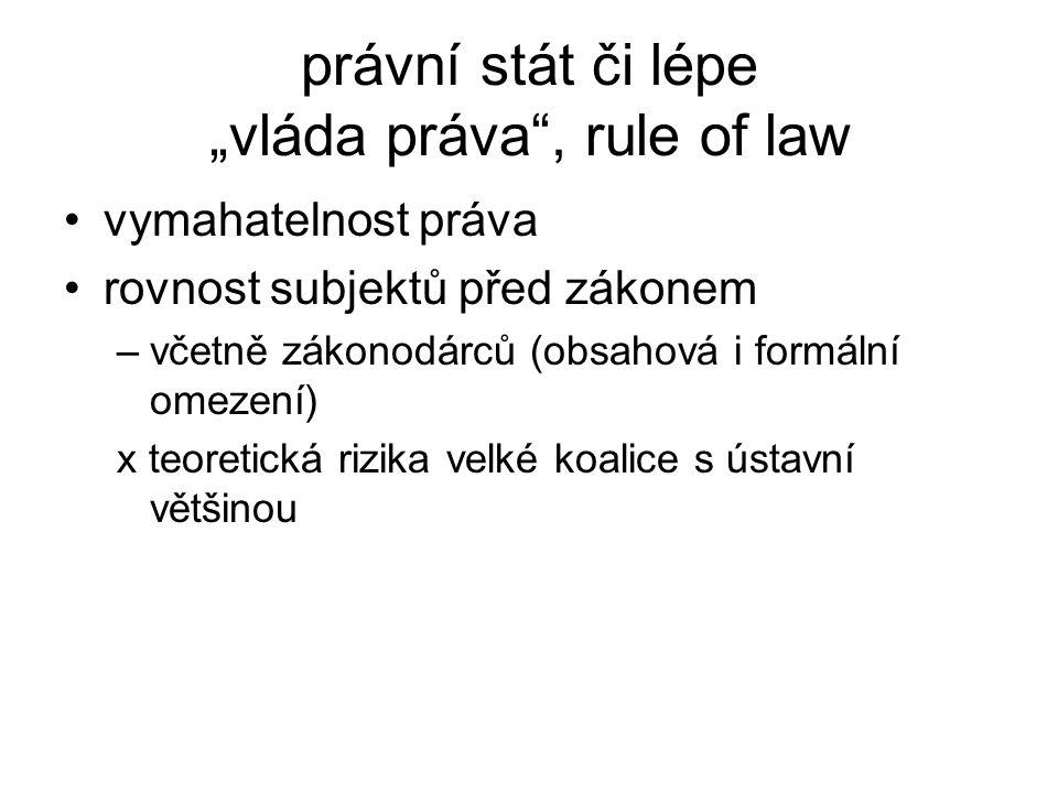 """právní stát či lépe """"vláda práva"""", rule of law vymahatelnost práva rovnost subjektů před zákonem –včetně zákonodárců (obsahová i formální omezení) x t"""