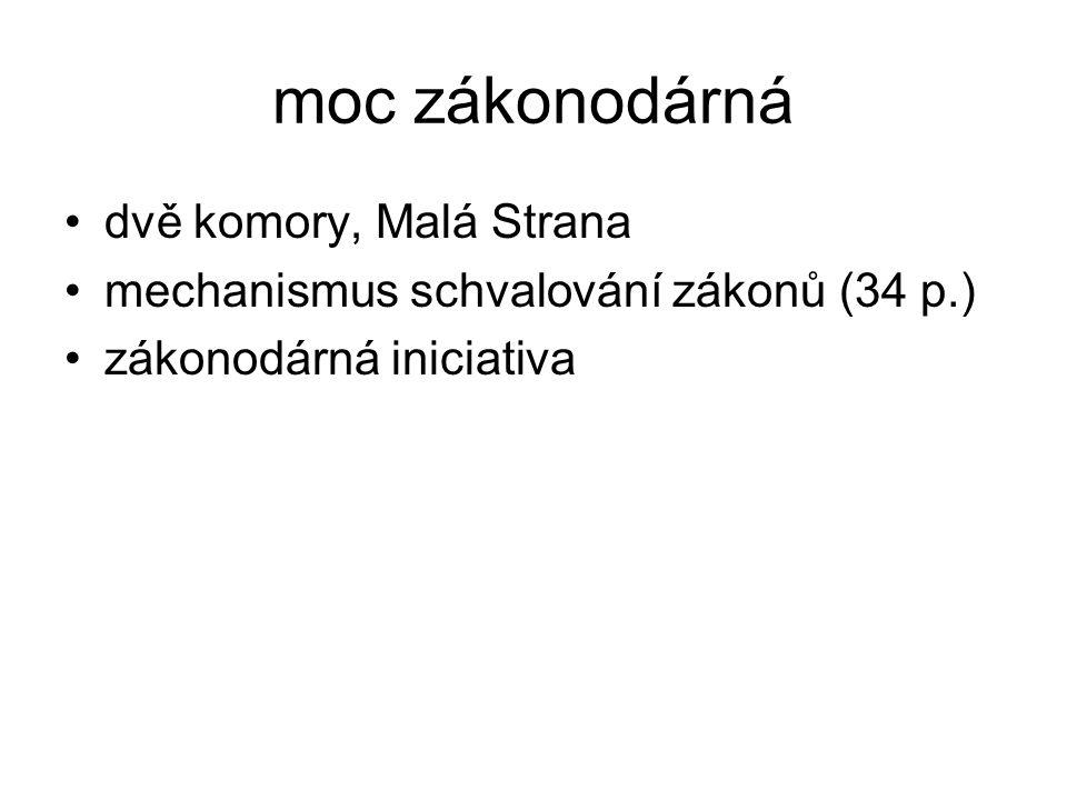moc zákonodárná dvě komory, Malá Strana mechanismus schvalování zákonů (34 p.) zákonodárná iniciativa