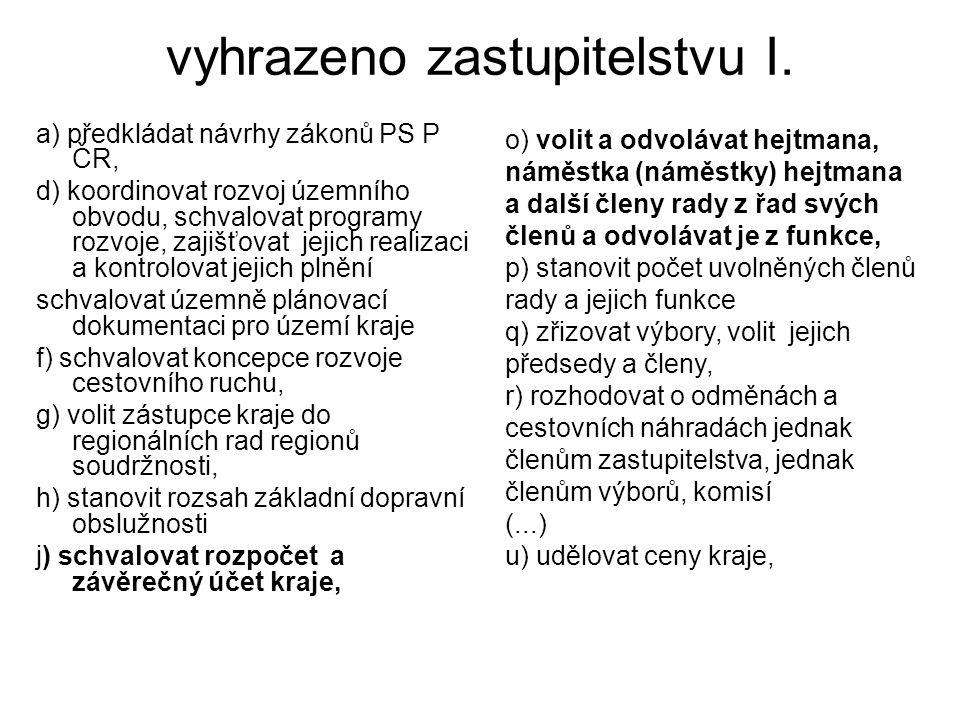 vyhrazeno zastupitelstvu I. a) předkládat návrhy zákonů PS P ČR, d) koordinovat rozvoj územního obvodu, schvalovat programy rozvoje, zajišťovat jejich