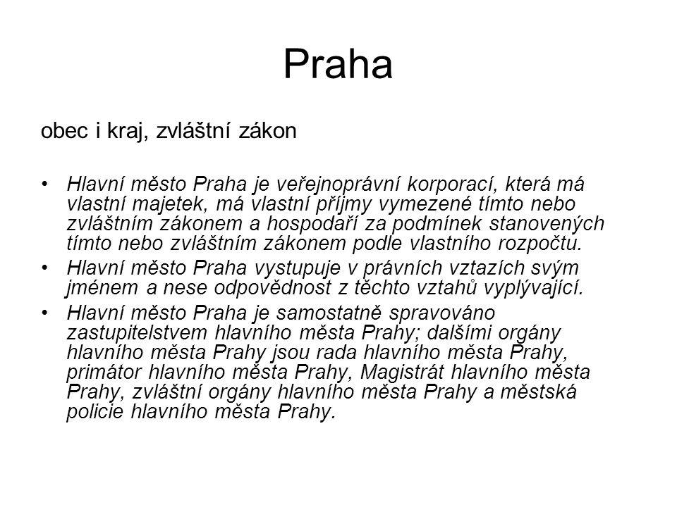 Praha obec i kraj, zvláštní zákon Hlavní město Praha je veřejnoprávní korporací, která má vlastní majetek, má vlastní příjmy vymezené tímto nebo zvláš