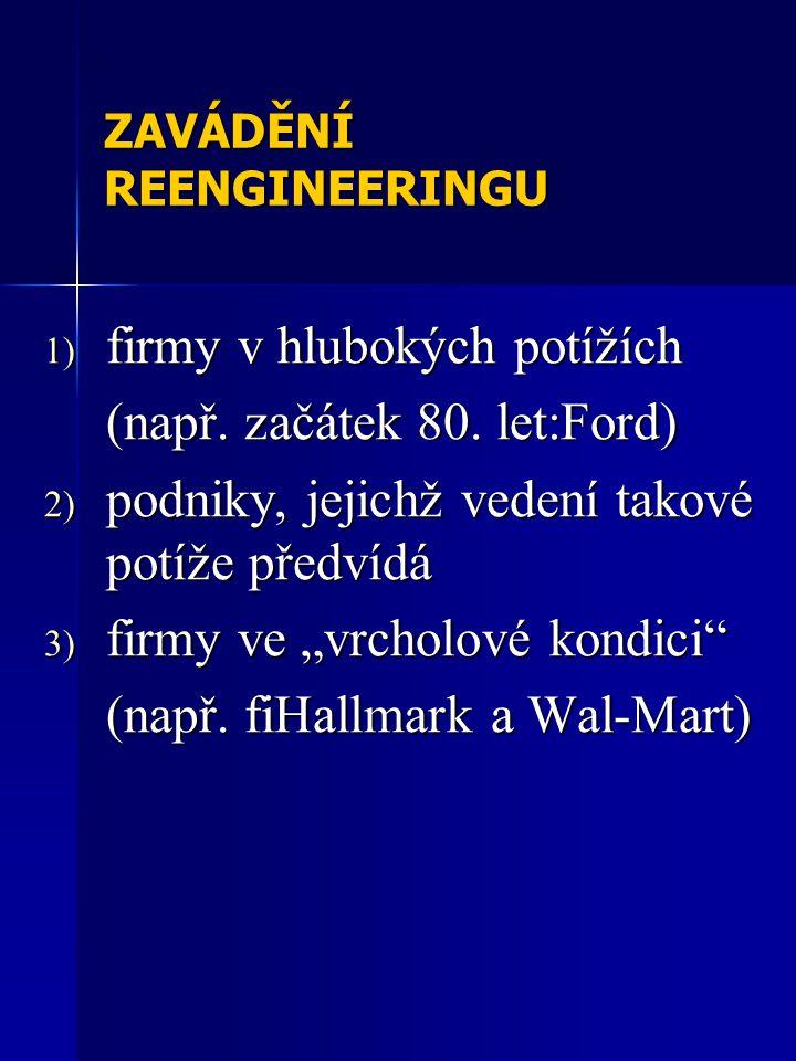 ZAVÁDĚNÍ REENGINEERINGU 1) firmy v hlubokých potížích (např.
