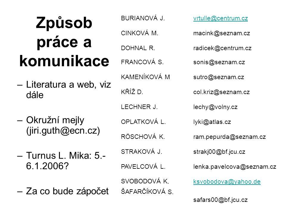 Způsob práce a komunikace –Literatura a web, viz dále –Okružní mejly (jiri.guth@ecn.cz) –Turnus L. Mika: 5.- 6.1.2006? –Za co bude zápočet BURIANOVÁ J