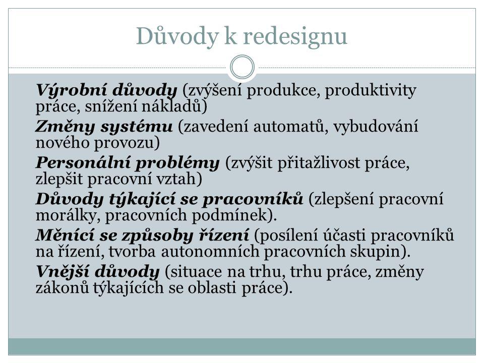 Důvody k redesignu  Výrobní důvody (zvýšení produkce, produktivity práce, snížení nákladů)  Změny systému (zavedení automatů, vybudování nového prov