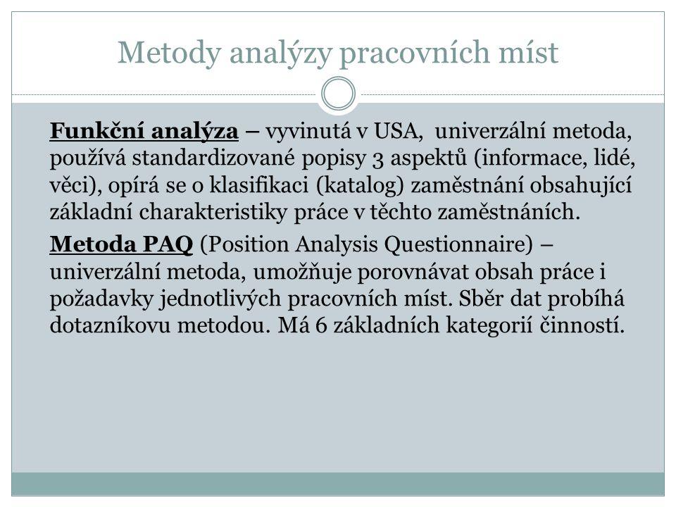Metody analýzy pracovních míst  Funkční analýza – vyvinutá v USA, univerzální metoda, používá standardizované popisy 3 aspektů (informace, lidé, věci