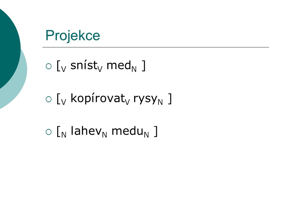 Projekce  [ V sníst V med N ]  [ V kopírovat V rysy N ]  [ N lahev N medu N ]