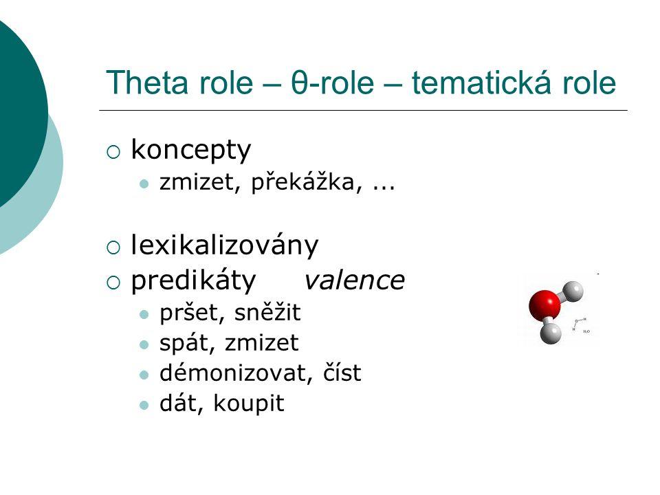 Theta role – θ-role – tematická role  koncepty zmizet, překážka,...