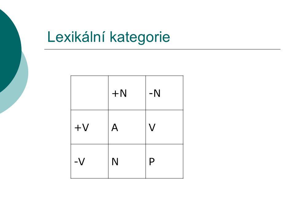 Lexikální kategorie +N-N +VAV -VNP
