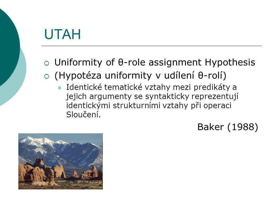 UTAH  Uniformity of θ-role assignment Hypothesis  (Hypotéza uniformity v udílení θ-rolí) Identické tematické vztahy mezi predikáty a jejich argumenty se syntakticky reprezentují identickými strukturními vztahy při operaci Sloučení.