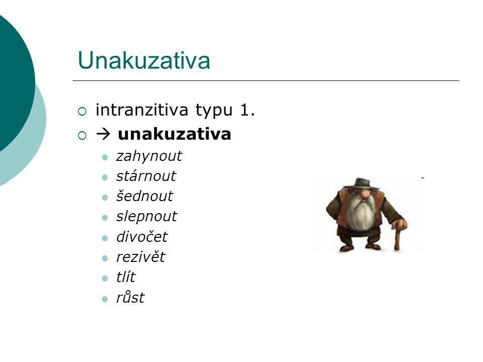 Unakuzativa  intranzitiva typu 1.