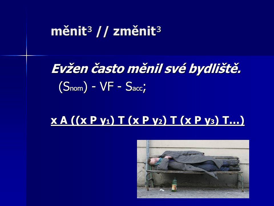 měnit³ // změnit³ Evžen často měnil své bydliště.