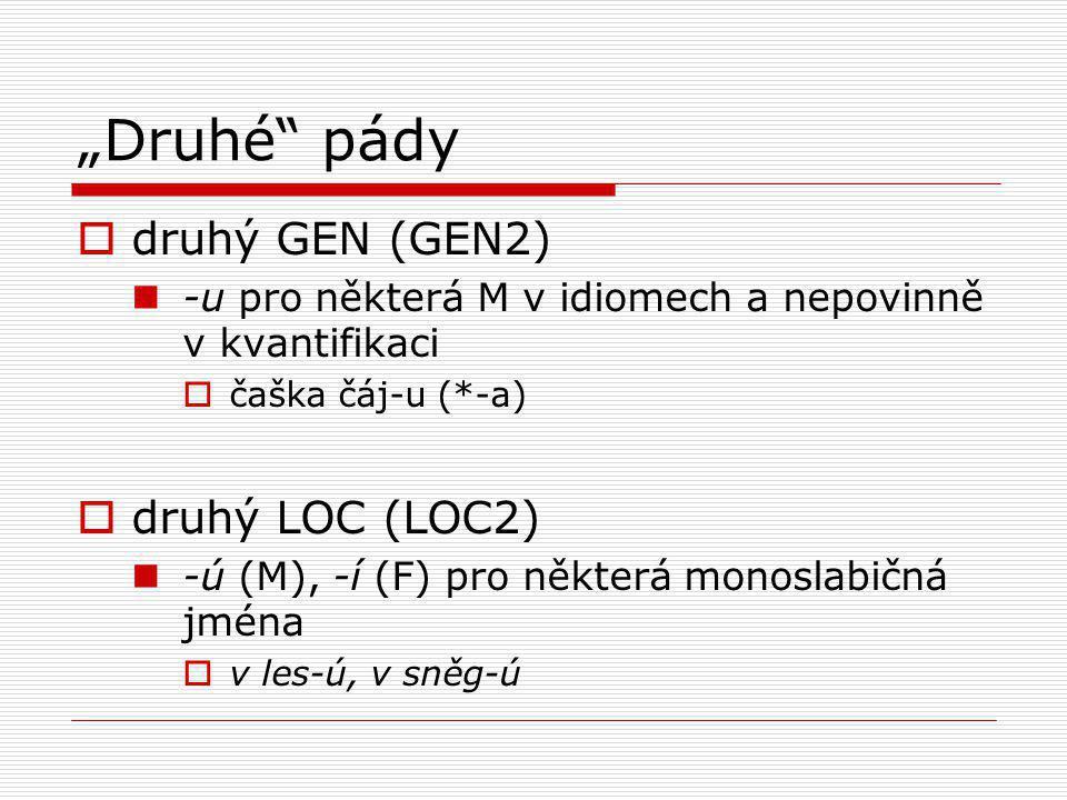 """""""Druhé"""" pády  druhý GEN (GEN2) -u pro některá M v idiomech a nepovinně v kvantifikaci  čaška čáj-u (*-a)  druhý LOC (LOC2) -ú (M), -í (F) pro někte"""