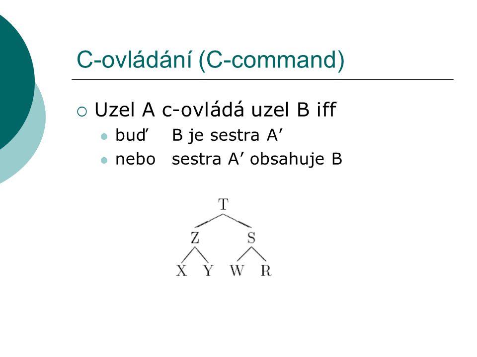 C-ovládání (C-command)  Uzel A c-ovládá uzel B iff buďB je sestra A' nebosestra A' obsahuje B