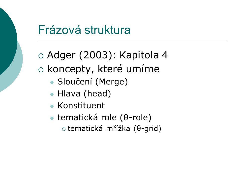 Frázová struktura  Adger (2003): Kapitola 4  koncepty, které umíme Sloučení (Merge) Hlava (head) Konstituent tematická role (θ-role)  tematická mřížka (θ-grid)