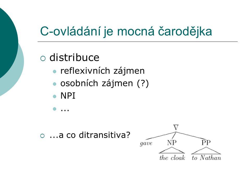 C-ovládání je mocná čarodějka  distribuce reflexivních zájmen osobních zájmen ( ) NPI...