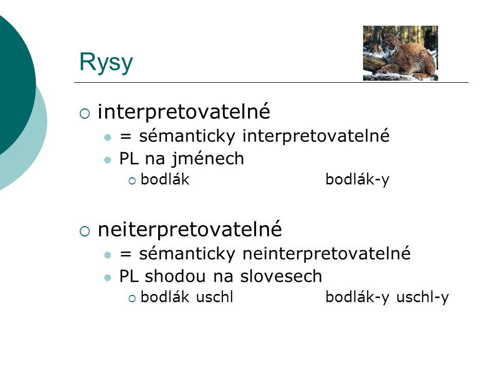 Rysy  interpretovatelné = sémanticky interpretovatelné PL na jménech  bodlákbodlák-y  neiterpretovatelné = sémanticky neinterpretovatelné PL shodou na slovesech  bodlák uschlbodlák-y uschl-y