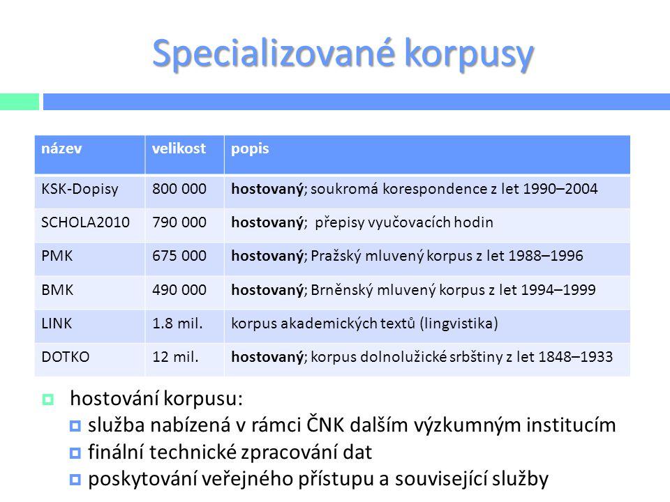 Specializované korpusy  hostování korpusu:  služba nabízená v rámci ČNK dalším výzkumným institucím  finální technické zpracování dat  poskytování