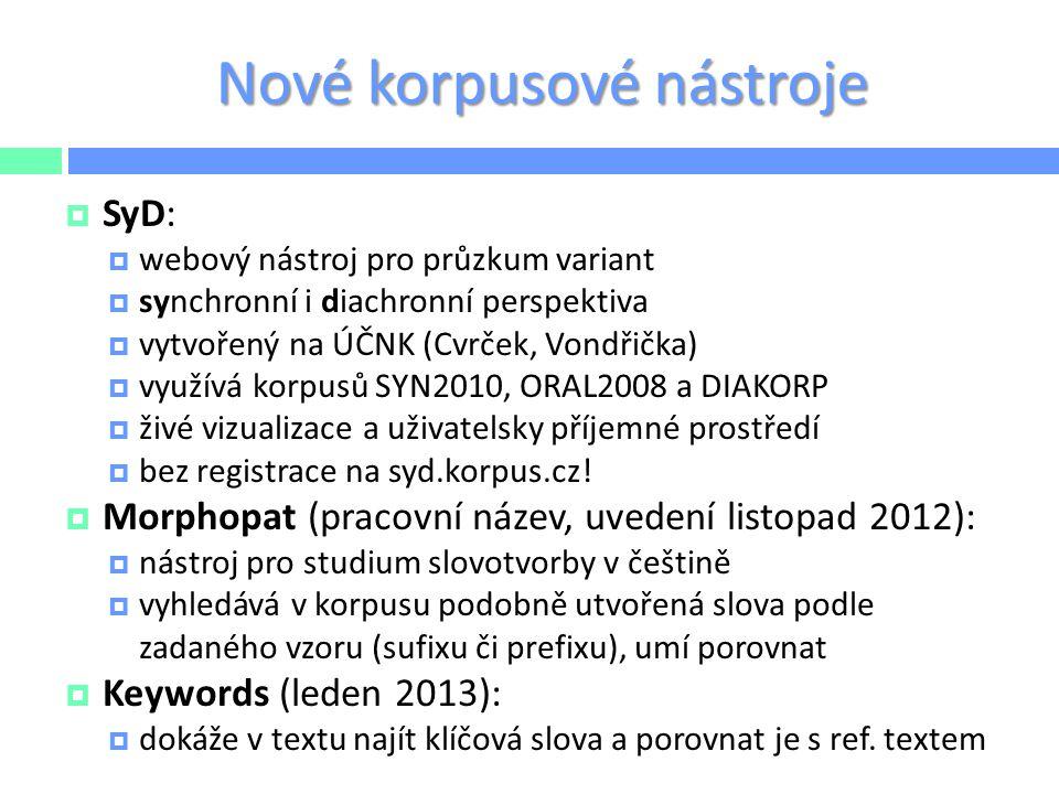 Nové korpusové nástroje  SyD:  webový nástroj pro průzkum variant  synchronní i diachronní perspektiva  vytvořený na ÚČNK (Cvrček, Vondřička)  vy