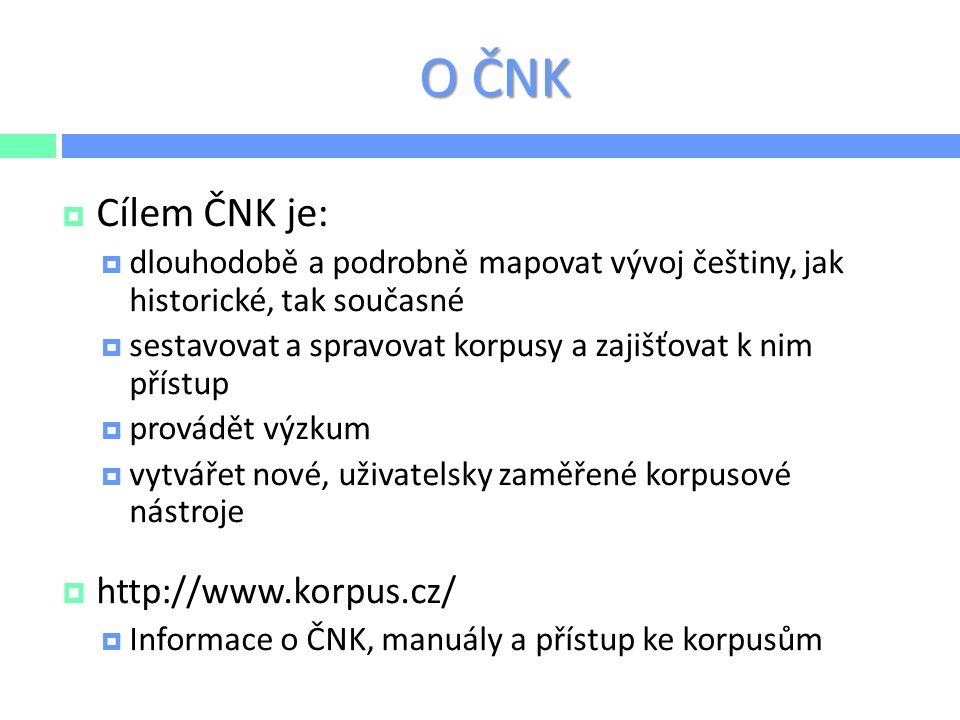 O ČNK  Cílem ČNK je:  dlouhodobě a podrobně mapovat vývoj češtiny, jak historické, tak současné  sestavovat a spravovat korpusy a zajišťovat k nim