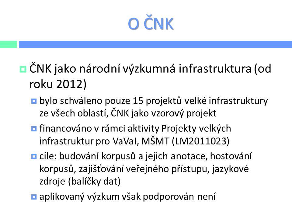 O ČNK  ČNK jako národní výzkumná infrastruktura (od roku 2012)  bylo schváleno pouze 15 projektů velké infrastruktury ze všech oblastí, ČNK jako vzo