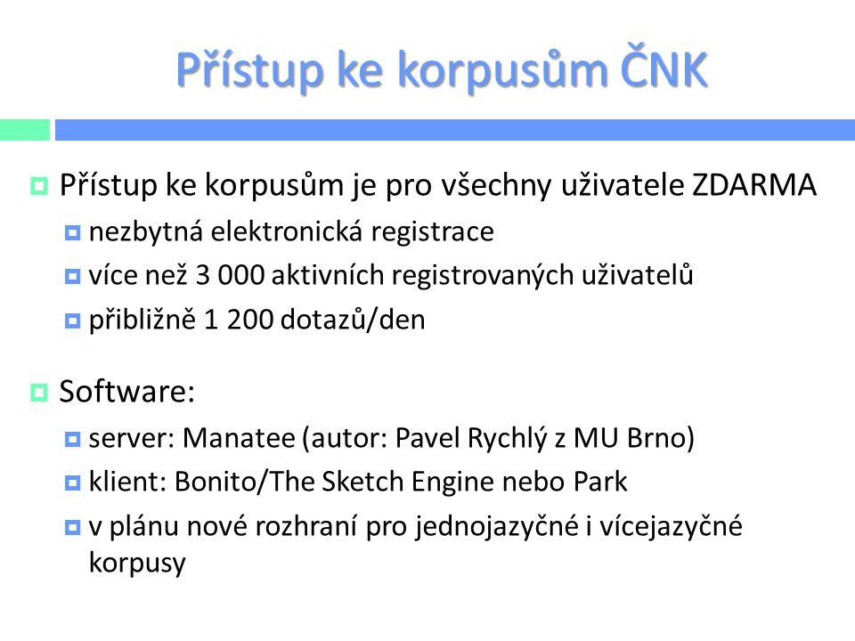 Přístup ke korpusům ČNK  Přístup ke korpusům je pro všechny uživatele ZDARMA  nezbytná elektronická registrace  více než 3 000 aktivních registrova