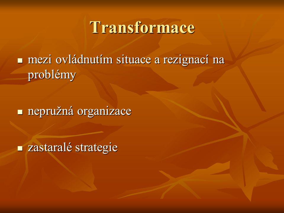 Transformace mezi ovládnutím situace a rezignací na problémy mezi ovládnutím situace a rezignací na problémy nepružná organizace nepružná organizace zastaralé strategie zastaralé strategie