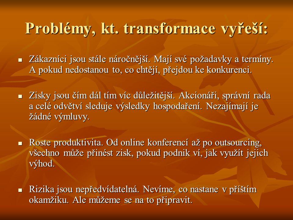 Problémy, kt. transformace vyřeší: Zákazníci jsou stále náročnější. Mají své požadavky a termíny. A pokud nedostanou to, co chtějí, přejdou ke konkure