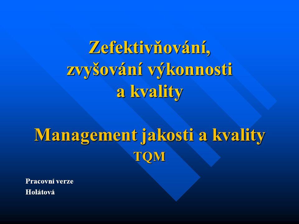 Zefektivňování, zvyšování výkonnosti a kvality Management jakosti a kvality TQM Pracovní verze Holátová
