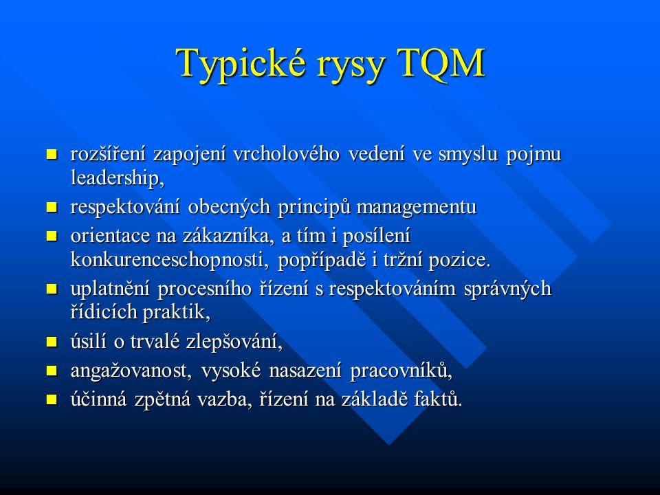 Typické rysy TQM rozšíření zapojení vrcholového vedení ve smyslu pojmu leadership, rozšíření zapojení vrcholového vedení ve smyslu pojmu leadership, r