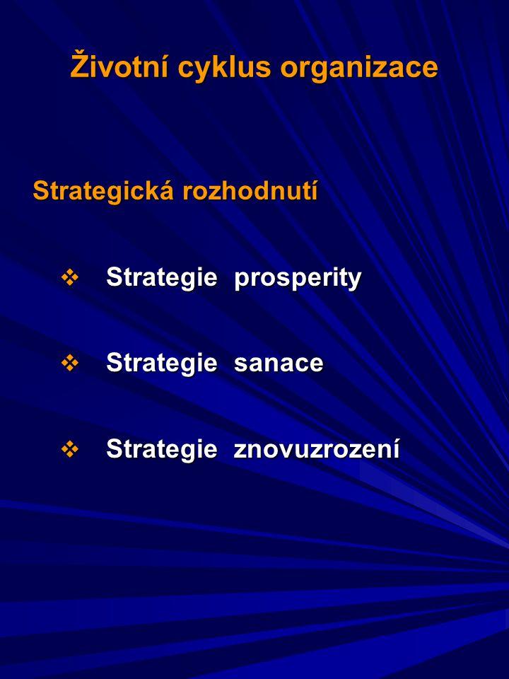 Strategická rozhodnutí  Strategie prosperity  Strategie sanace  Strategie znovuzrození