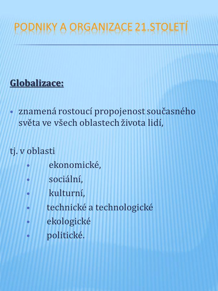 Globalizace: znamená rostoucí propojenost současného světa ve všech oblastech života lidí, tj. v oblasti ekonomické, sociální, kulturní, technické a t