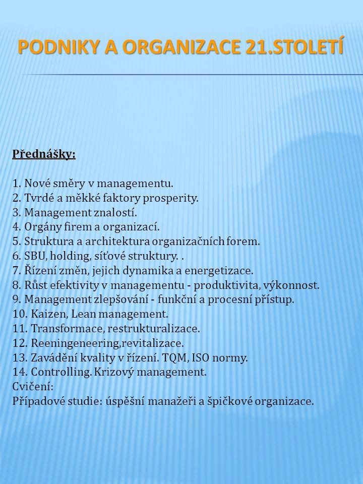 Přednášky: 1. Nové směry v managementu. 2. Tvrdé a měkké faktory prosperity. 3. Management znalostí. 4. Orgány firem a organizací. 5. Struktura a arch