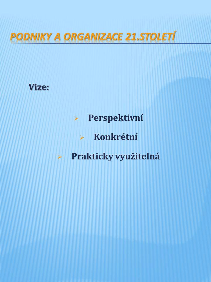 Vize:  Perspektivní  Konkrétní  Prakticky využitelná