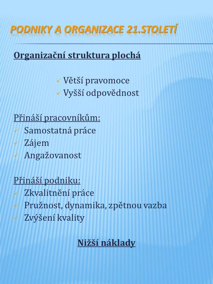 Organizační struktura plochá Větší pravomoce Vyšší odpovědnost Přináší pracovníkům: Samostatná práce Zájem Angažovanost Přináší podniku: Zkvalitnění práce Pružnost, dynamika, zpětnou vazba Zvýšení kvality Nižší náklady