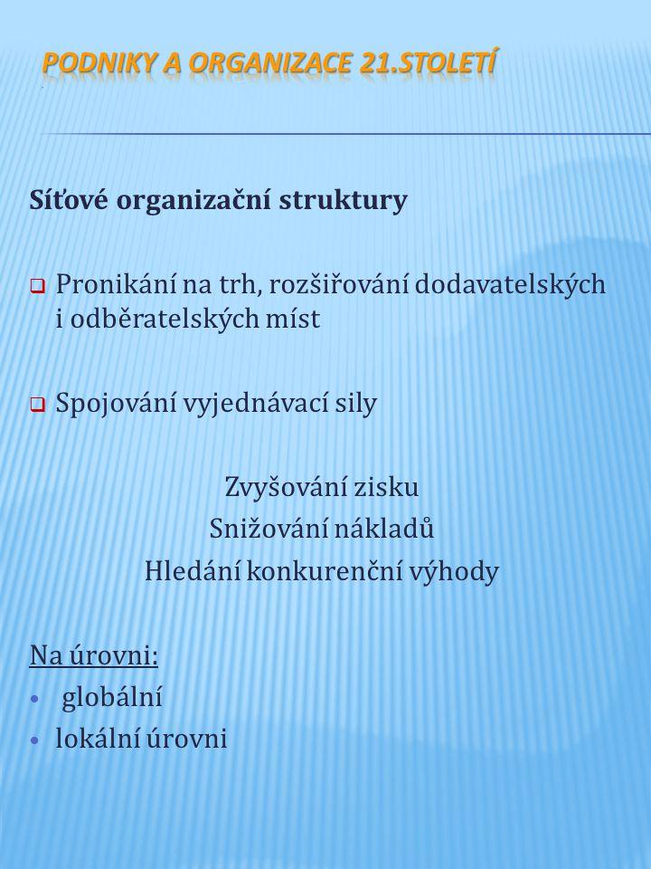 Síťové organizační struktury  Pronikání na trh, rozšiřování dodavatelských i odběratelských míst  Spojování vyjednávací sily Zvyšování zisku Snižová