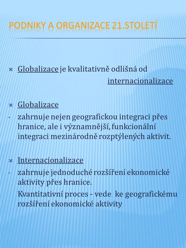  Globalizace je kvalitativně odlišná od internacionalizace  Globalizace zahrnuje nejen geografickou integraci přes hranice, ale i významnější, funkcionální integraci mezinárodně rozptýlených aktivit.