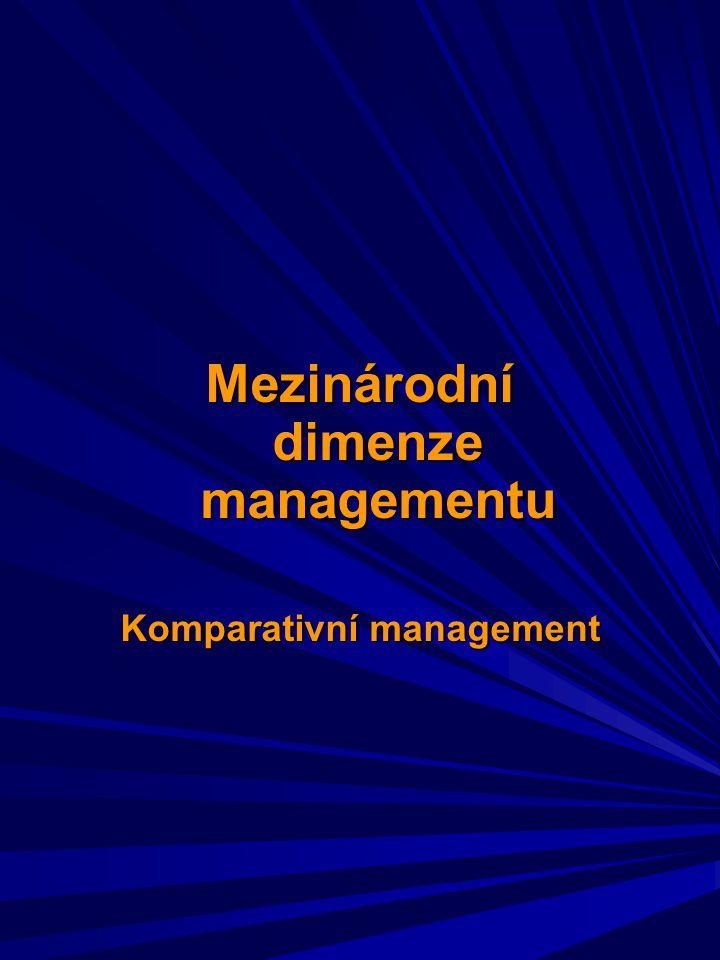 Komparace: srovnávání, přirovnávání Komparativní management je studium a analýza managementu o v různých podmínkách, resortech a zemích o s cílem zjistit, proč podniky v různých prostředích dosahují různých výsledků.