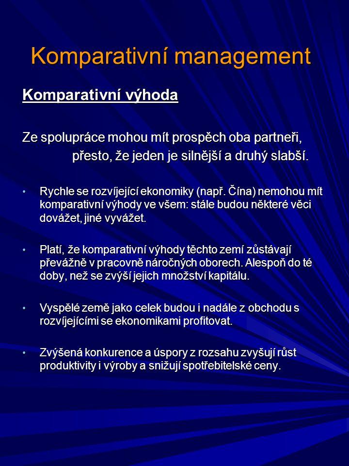 Komparativní management Platnost a aplikace Teorie, zákony a principy řízení jsou do značné míry všeobecně platné, aplikovatelné v různých podmínkách.