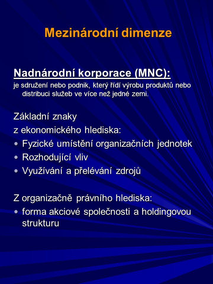 Mezinárodní dimenze Mezinárodní dimenze Nadnárodní korporace (MNC): je sdružení nebo podnik, který řídí výrobu produktů nebo distribuci služeb ve více než jedné zemi.