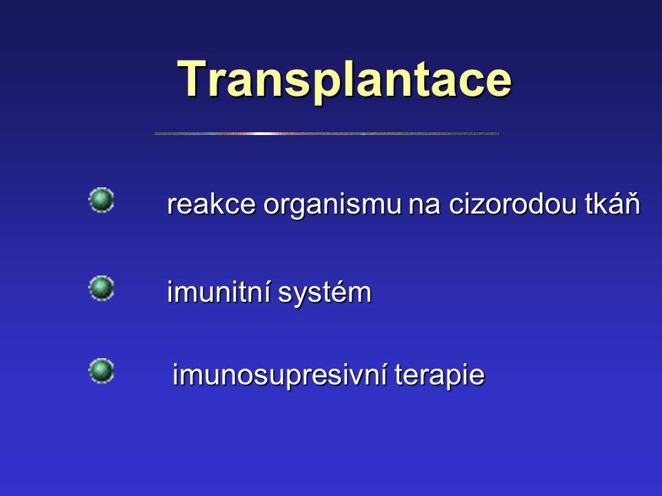 Transplantace reakce organismu na cizorodou tkáň imunitní systém imunosupresivní terapie