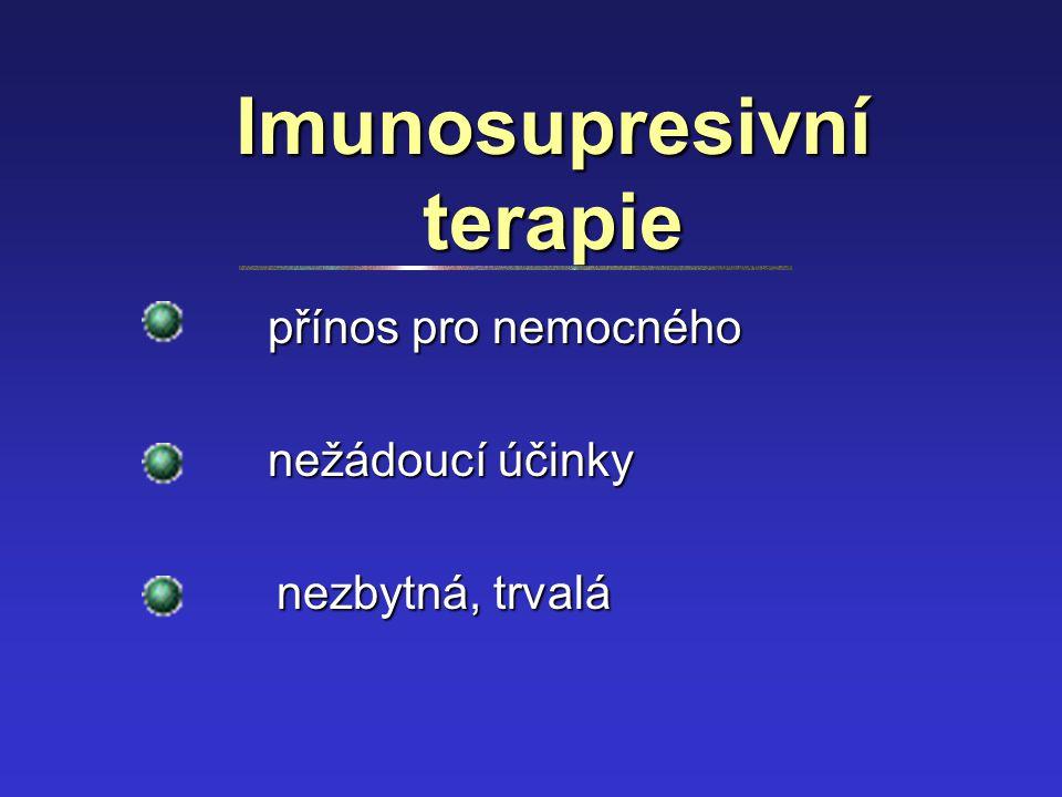 Imunosupresivní terapie přínos pro nemocného nežádoucí účinky nezbytná, trvalá