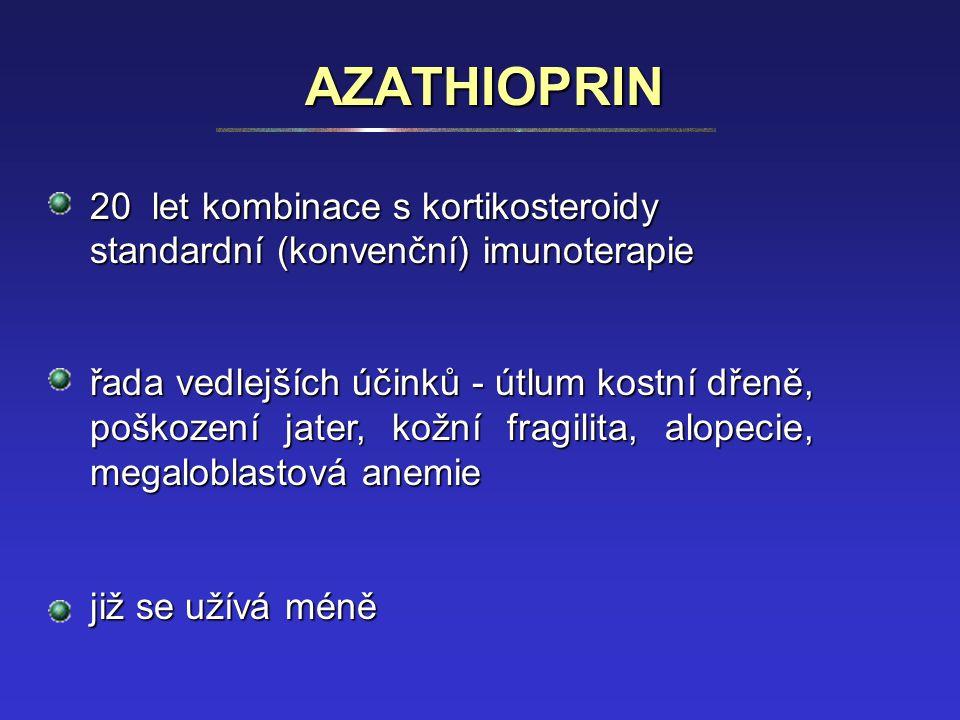 AZATHIOPRIN 20 let kombinace s kortikosteroidy standardní (konvenční) imunoterapie řada vedlejších účinků - útlum kostní dřeně, poškození jater, kožní