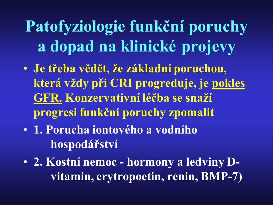 Patofyziologie funkční poruchy a dopad na klinické projevy Je třeba vědět, že základní poruchou, která vždy při CRI progreduje, je pokles GFR. Konzerv
