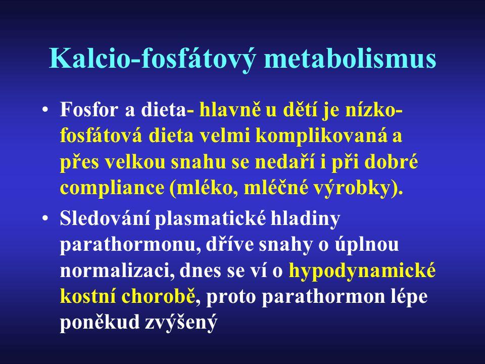 Kalcio-fosfátový metabolismus Fosfor a dieta- hlavně u dětí je nízko- fosfátová dieta velmi komplikovaná a přes velkou snahu se nedaří i při dobré com