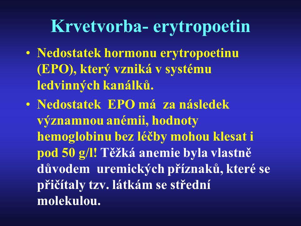 Krvetvorba- erytropoetin Nedostatek hormonu erytropoetinu (EPO), který vzniká v systému ledvinných kanálků. Nedostatek EPO má za následek významnou an