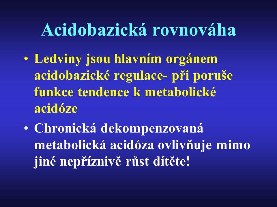 Acidobazická rovnováha Ledviny jsou hlavním orgánem acidobazické regulace- při poruše funkce tendence k metabolické acidóze Chronická dekompenzovaná m
