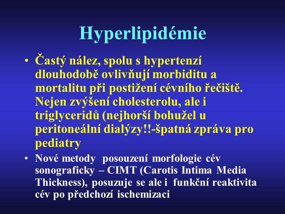 Hyperlipidémie Častý nález, spolu s hypertenzí dlouhodobě ovlivňují morbiditu a mortalitu při postižení cévního řečiště. Nejen zvýšení cholesterolu, a