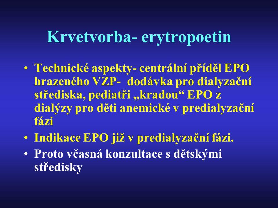 """Krvetvorba- erytropoetin Technické aspekty- centrální příděl EPO hrazeného VZP- dodávka pro dialyzační střediska, pediatři """"kradou"""" EPO z dialýzy pro"""